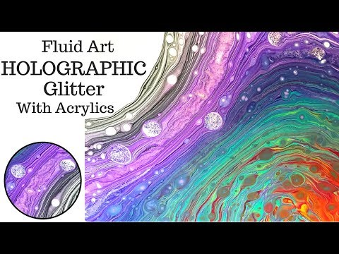 NEW Fluid Art with HOLOGRAPHIC GLITTER Veining on DIRTY SWIRL Acrylic Pouring