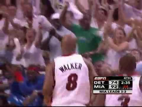 Antoine Walker does the wiggle after a shot in the Detroit/Heat series of 06