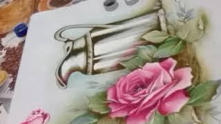 Pintando a Jarra com Rosas – Parte 4 – Pintura em tecido