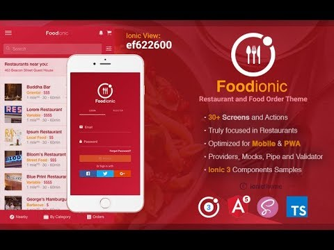 foodIonic - Ionic 3 Restaurant & Food Order Theme