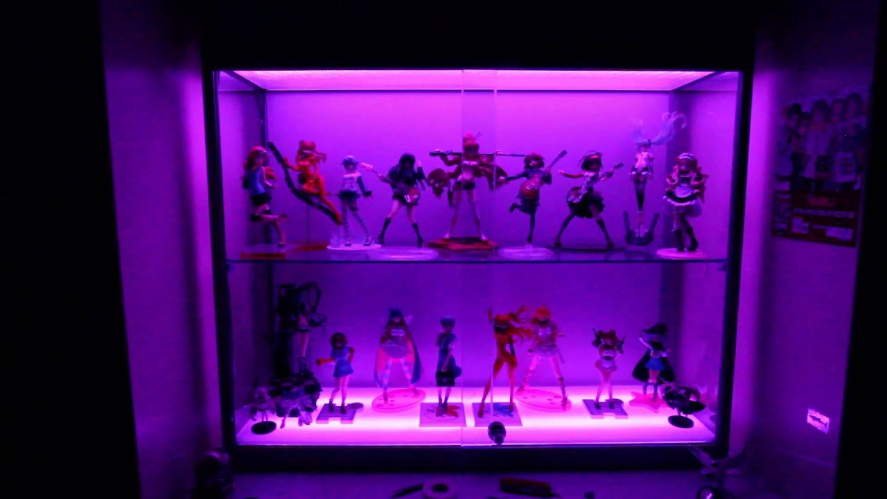 Anime figure display cabinet With RGB LED tape. - YouTube