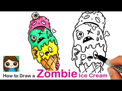 How To Draw A Zombie Ice Cream Cone