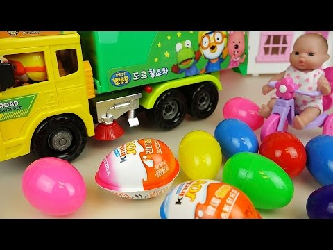 Baby doll surprise eggs, kinder joy and Garbage truck car toys play