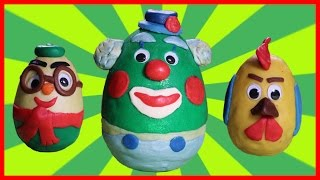 play doh surprise eggs unboxing for kids funny wind up toys