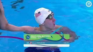 Sam Pomajevich Takes First In The Men's 200m Butterfly   Pan American Games Lima 2019