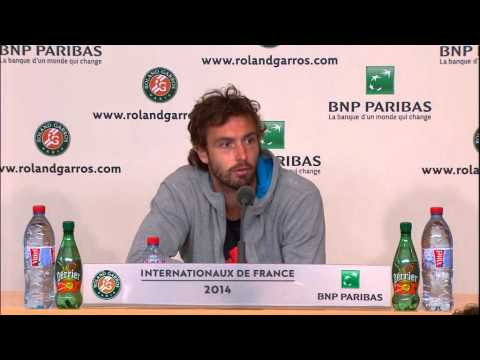 "Funny Gulbis talks ""smashing rackets"" after defeating Federer @ Roland Garros 2014"