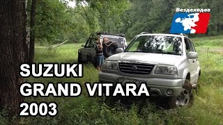 SUZUKI Grand Vitara 2003 проходимость, диагоналка. Лес, грязь, водоем.