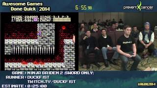 Ninja Gaiden II NES :: Live SPEED RUN (0:13:04) by Duckfist #AGDQ 2014