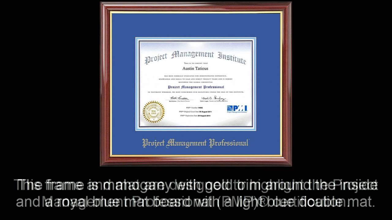 pmp certificate frame mahogany with royal mat youtube