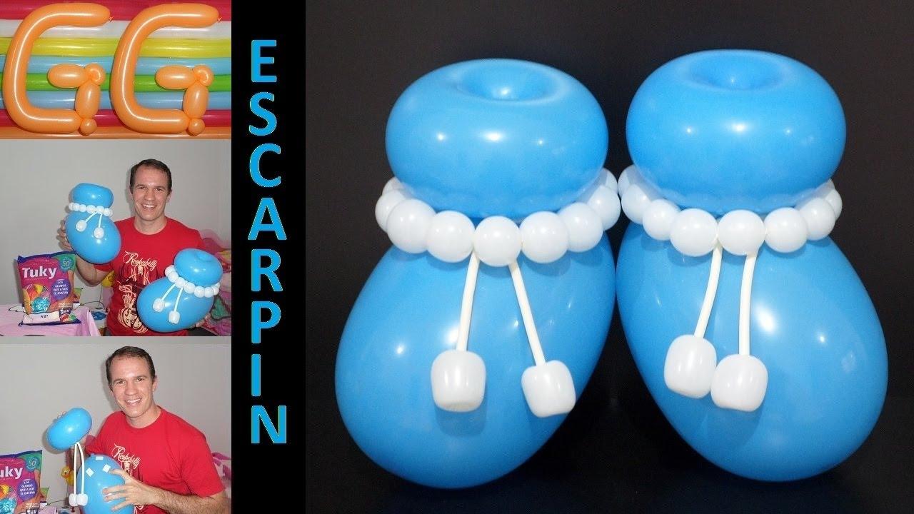 Escarpines con globos para baby shower globoflexia facil - Decoracion para baby shower nino ...