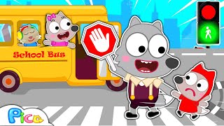 Daddy Teaches Pica Baby catch a Bus - Wheels on the Bus   Kids Safety Tips on Road   Pica Channel