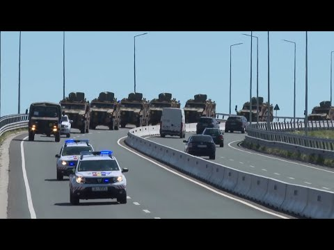 A convoy of Turkish troops crossed the border from Bulgaria into Romania
