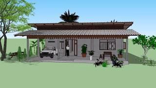 บ้านเพิงหมาแหงน หน้ากว้าง 3ห้อง ( No. 063 )  SketchUp by :  i. pakdee