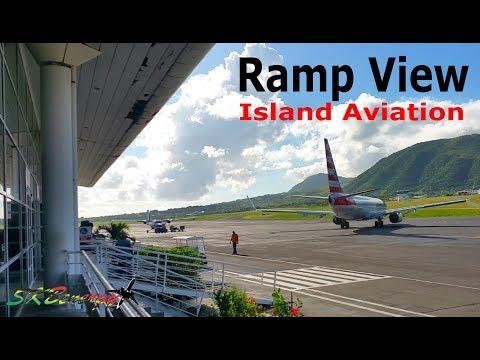 Ramp View !!! American 738, Winair Twin Otter, Trans Anguilla BN-2 Islander@ St. Kitts Airport