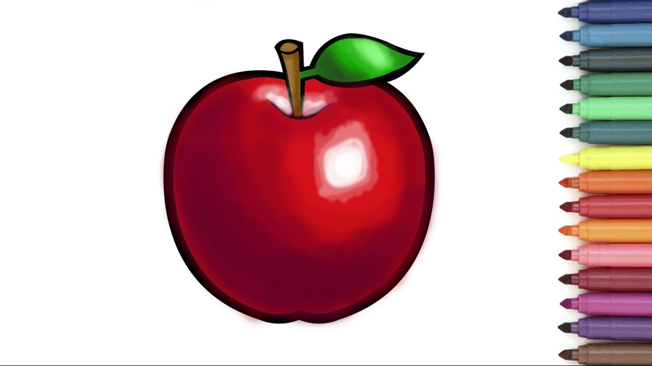 Red APPLE Coloring Page For Kids