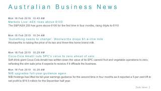 Business News Headlines for 18 Feb 2019 - 1 PM Edition
