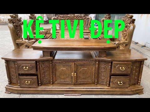 Mẫu Kệ Tivi phòng khách cao cấp | Kệ Tivi phòng khách gỗ Hương Đá | kệ gỗ phòng khách