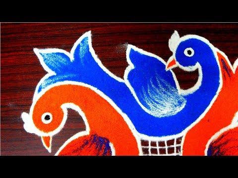 Innovative multicolor birds rangoli designs - beautiful kolam designs - muggulu with 6 to 4 dots
