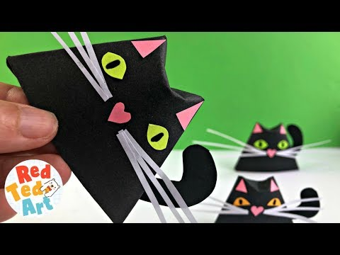 EASY BLACK CAT DIY - Paper Projects for Halloween - Paper Cup Origami