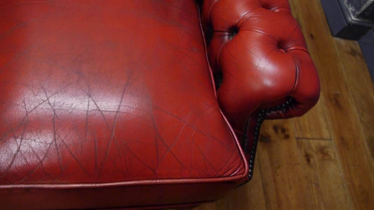 Oxblood Red Three Seater Leather Chesterfield Sofa