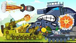 Battaglia dei grandi mostri. Carri armatiche sparano. Cartoni animati carri armati.
