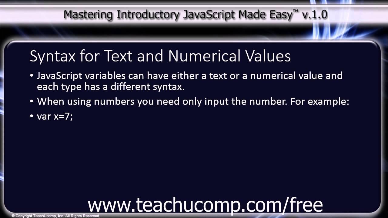 JavaScript Variables- Tutorial - TeachUcomp, Inc