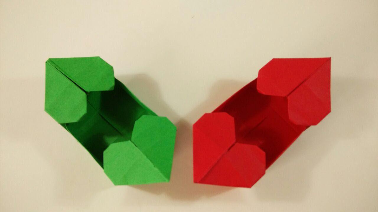 Como hacer una caja de papel con dos corazones - Origami para san ...
