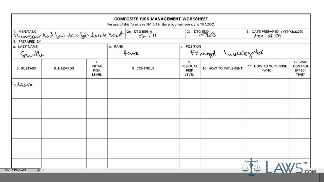 risk management work sheet
