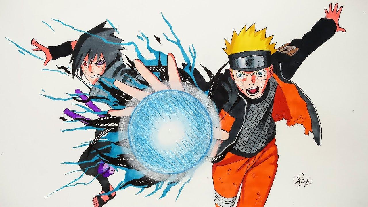 Drawing naruto sasuke naruto shippuden 5k subs special