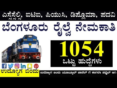 ಬೆಂಗಳೂರು ರೈಲ್ವೆ ನೇಮಕಾತಿ 2018 Railway Recruitment Notification 2018 Out - 26502 Vacancies
