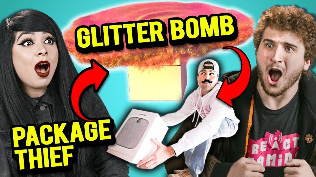 Adults React To Package Thief Vs  Glitter Bomb Trap Revenge Prank