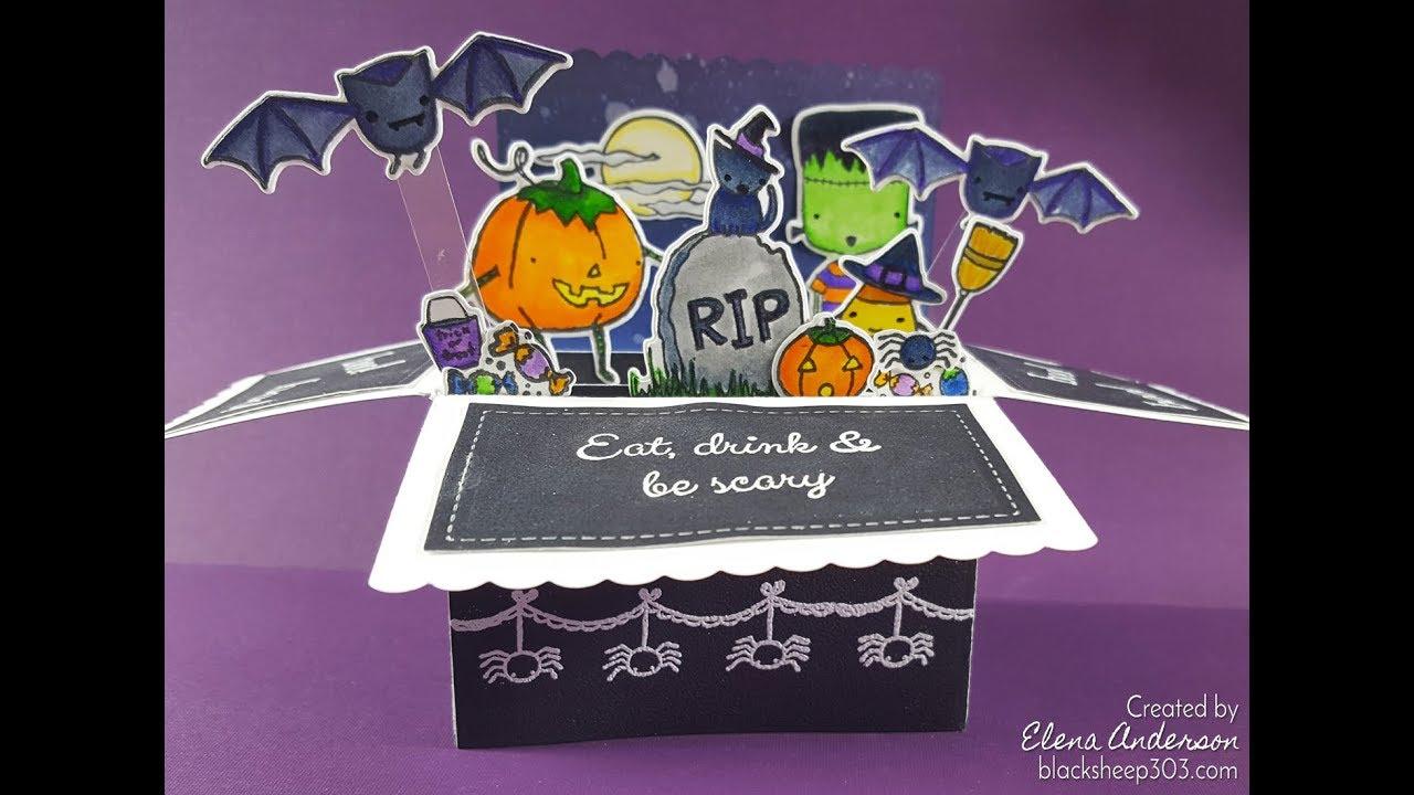 Halloween Pop Up Box Card With Elizabeth Craft Designs Lawn Fawn