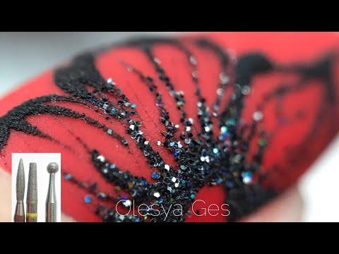 Дизайн ногтей черный с красным гель лаком