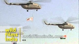 Aerobatics, parachuting and Russian helicopters : daring display