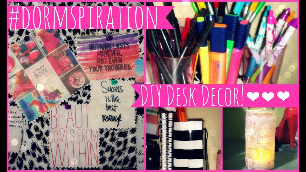 Dormspiration diy dorm room desk decor youtube for Room decor material