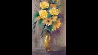 """Желтые цветы акрилом. Рисуем вазу, фон, ромашки, розы.Flowers- roses, daisies, vase, in acrylic.(Показать свои работы и получить комментарии можно в группах на Фейсбуке: """"Art Class""""- https://www.facebook.com/groups/173264953152..., 2017-01-31T09:09:50.000Z)"""