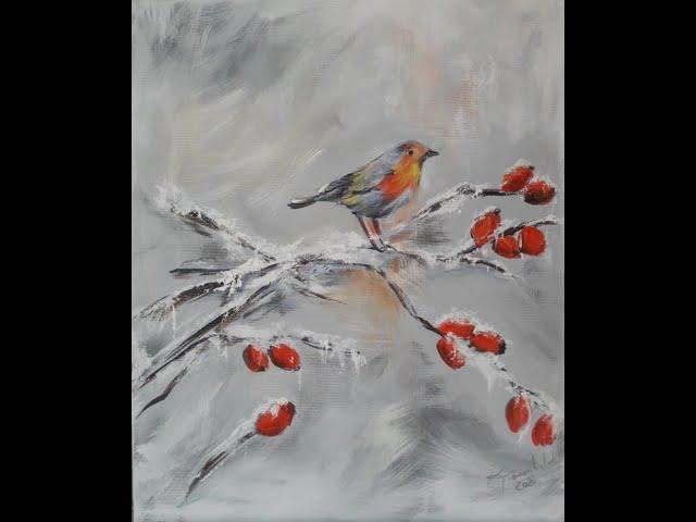 Elke malt - Rotkehlchen im Schnee - über die Schulter geschaut