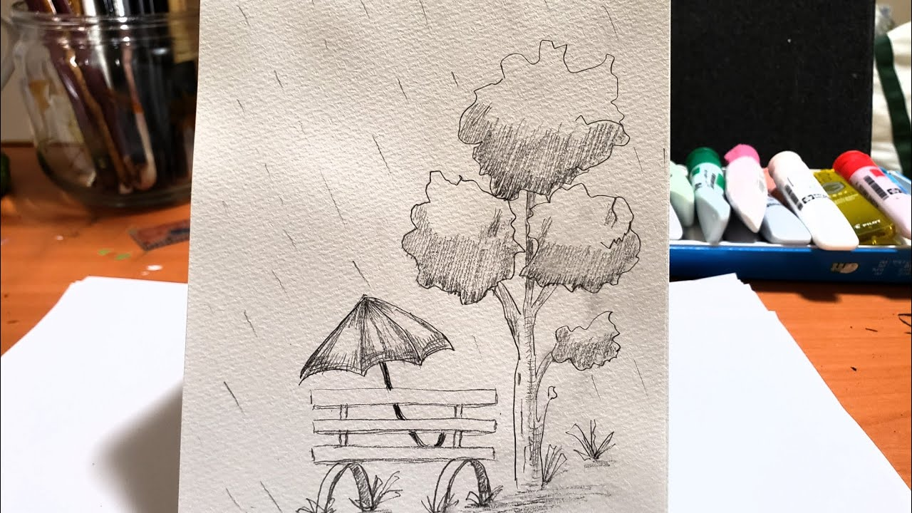 How to draw scenery with pencil, cách vẽ tranh phong cảnh bằng bút chì đơn giản, #art