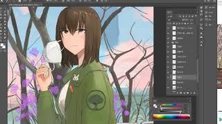 그림 과정] 코로나 때문에 쓸쓸한 벚꽃축제