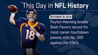 Peyton Manning Breaks Brett Favre's NFL Record for TD Passes | This Day in NFL History (10/19/14)