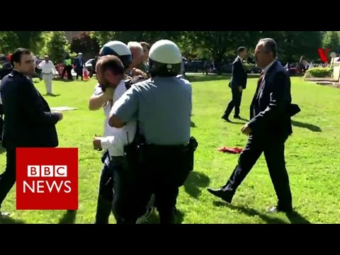 Protesters injured outside Turkish embassy in Washington - BBC News