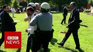 Protesters injured outside Turkish embassy in Washington   BBC News