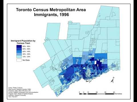Geovisualization Project on Immigrants in the Toronto CMA from 1981 to 2016