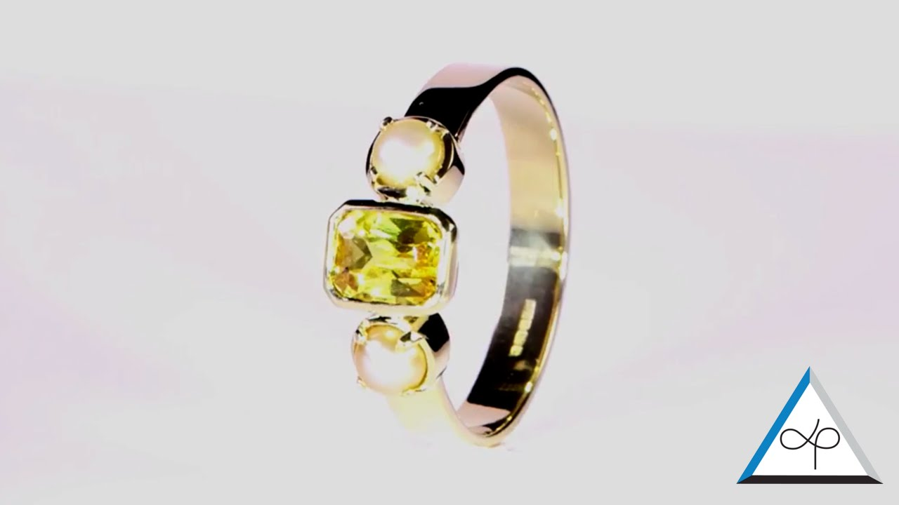 Yellow Sapphire Em Cut And Real Salt Water Pearl Set In Gold Ring  Prakash  Gems Prakash Astrologer