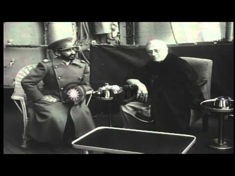 US President Franklin Roosevelt and Ethiopian Emperor Haile Selassie aboard USS Q...HD Stock Footage
