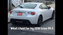 What I Paid For My 2016 Scion FR-S