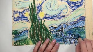 The Starry Night Oil Pastel Tutorial