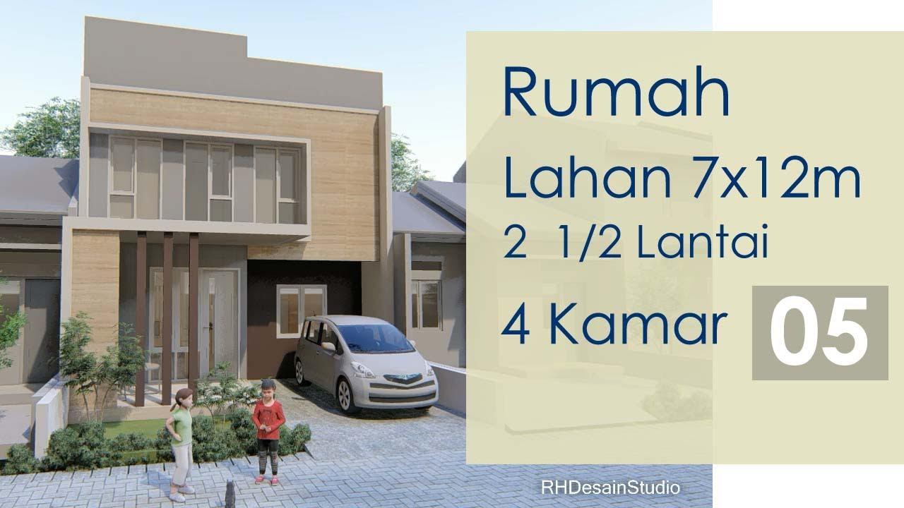 Desain Rumah 7x12 Meter Minimalis 2 1 2 Lantai 4 Kamar Tidur Kode RH 5