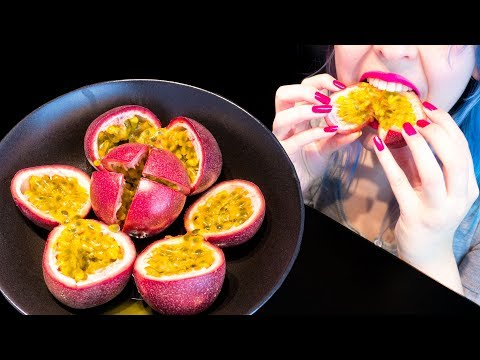 ASMR: Super Crispy Purple Passion Fruits | Crunchy Seeds ~ Relaxing Eating Sounds [No Talking|V] 😻