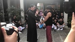Demonstrates Wing Chun with Ip Man 3 actor Simon Kook